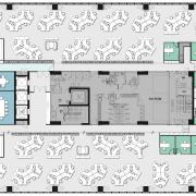 Fourth floor plan, DNV GL office Singapore - architecture, area, design, diagram, floor plan, font, line, pattern, plan, structure, text, urban design, white