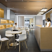 This staff breakout area, with timber inlaid niches ceiling, furniture, interior design, office, product design, gray