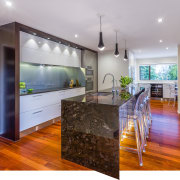 Removing walls and repositioning the kitchen in this countertop, floor, hardwood, home, interior design, kitchen, property, real estate, room, wood flooring, gray