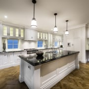 White hand-painted cabinetry is set against French oak cabinetry, countertop, cuisine classique, interior design, kitchen, real estate, room, gray