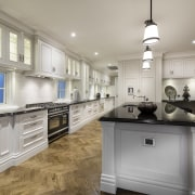 The kitchen cabinetry in this house by Oswald cabinetry, countertop, cuisine classique, estate, floor, flooring, home, interior design, kitchen, real estate, room, gray