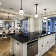 The kitchen forms the social centre of this cabinetry, countertop, cuisine classique, estate, flooring, home, interior design, kitchen, real estate, room, gray