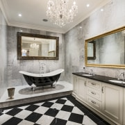 Although this bathroom features a limited palette of bathroom, floor, flooring, home, interior design, real estate, room, tile, gray