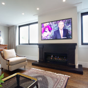 Gas fire in large home office - Gas home, interior design, living room, room, white, gray