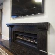 Gas fire with granite surround - Gas fire fireplace, floor, flooring, hearth, interior design, black, white