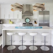 The island in this kitchen designed by Renae cabinetry, countertop, cuisine classique, interior design, kitchen, room, gray, white