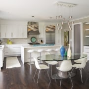 Convention takes a back seat in this all-white cabinetry, countertop, cuisine classique, dining room, floor, interior design, kitchen, real estate, room, gray