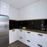 The kitchen has a separate scullery where all architecture, cabinetry, countertop, home, interior design, kitchen, property, real estate, room, gray