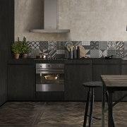 Timber kitchen featuring Smeg SFPA 395X pyrolytic oven. countertop, floor, flooring, hearth, interior design, kitchen, tile, wall, black, gray