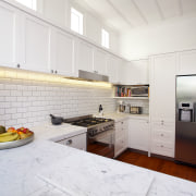 Absola Stone crafted and installed the Ultra Bianco countertop, floor, flooring, house, interior design, kitchen, room, white