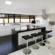 Black and white contemporary kitchen with quartz benchtops, countertop, cuisine classique, interior design, kitchen, gray, white