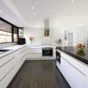 Black and white contemporary kitchen with quartz benchtops, countertop, interior design, kitchen, real estate, room, white