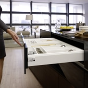 Hettich ArciTech drawers all run effortlessly and are desk, furniture, product design, table, black, white