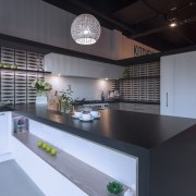Modern black and white kitchen with grey-toned wood architecture, countertop, interior design, kitchen, black, gray