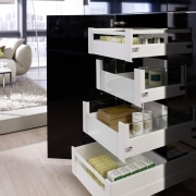 The Hettich ArciTech drawer system can hold weights chest of drawers, drawer, floor, furniture, product design, shelf, shelving, table, gray, black