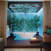 This freestanding contemporary bathtub sist on a timber bathroom, ceiling, home, house, interior design, living room, room, wall, window, brown