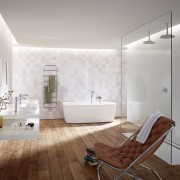 This modern white bathroom with natural timer floors architecture, bathroom, ceiling, daylighting, floor, flooring, home, interior design, plumbing fixture, product design, room, tile, wall, wood flooring, gray