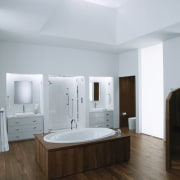 This modern white bathroom with timber floor includes bathroom, bathroom accessory, bathroom cabinet, floor, interior design, plumbing fixture, product design, room, sink, gray, white