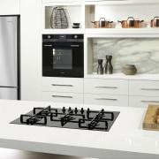 Smeg's black enamel cooktop draws the eye to countertop, home appliance, interior design, kitchen, kitchen appliance, kitchen stove, product design, small appliance, white