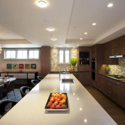 Mid-toned quartered maple cabinetry provides a calming backdrop ceiling, countertop, interior design, kitchen, room, gray, black