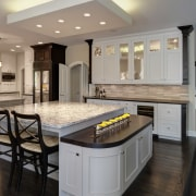 These kitchen cabinets are Maple with a Pearl cabinetry, ceiling, countertop, cuisine classique, floor, flooring, hardwood, interior design, kitchen, room, wood flooring, gray