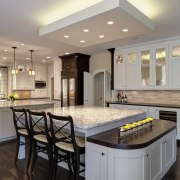 The furniture-style corners of this kitchen island are cabinetry, countertop, cuisine classique, flooring, interior design, kitchen, real estate, room, gray