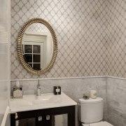 Toilet room in traditional bathroom by Drury Design bathroom, ceiling, ceramic, floor, flooring, home, interior design, plumbing fixture, room, sink, tap, tile, wall, window, gray