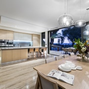 The kitchen, part of the new open-plan living interior design, kitchen, real estate, gray