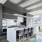 The kitchen is in the center of the architecture, countertop, interior design, kitchen, product design, white, gray