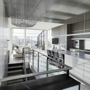A kinetic sculpture by Reuben Margolin appears to architecture, condominium, daylighting, house, interior design, kitchen, gray, black, white