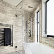 Marble tiles line the walls of the master architecture, bathroom, ceiling, floor, home, interior design, tile, wall, gray