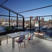 Rooftop terrace with glass panels to protect the apartment, balcony, condominium, penthouse apartment, property, real estate, roof, gray