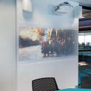 An Ultra short-throw projector and touch screen interactive ceiling, glass, interior design, gray