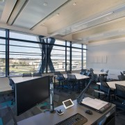 Office with interactive technology for tertiary institute MIT architecture, interior design, office, gray, black