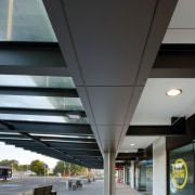 A fully customised Alucobond cladding system by Kaneba architecture, building, ceiling, daylighting, daytime, glass, metropolitan area, structure, black, gray