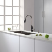 The Geo Arch faucet from Kraus teams stainless bathroom accessory, bathroom sink, countertop, interior design, kitchen, plumbing fixture, product, product design, sink, tap, gray, white