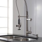 The slight industrial aesthetic generated by this Kraus bathroom sink, plumbing fixture, product design, sink, tap, white, gray