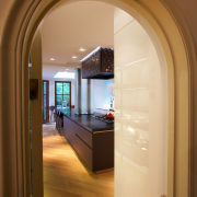 The original arched door to this kitchen was arch, architecture, ceiling, door, floor, home, interior design, window, brown, orange