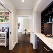 Glass sliding doors can screen the pantry on countertop, interior design, kitchen, real estate, room, gray, black