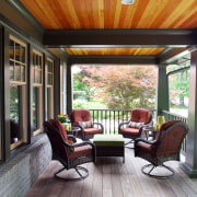 A cedar porch ceiling is one of the deck, home, house, interior design, living room, outdoor structure, patio, porch, real estate, window, black