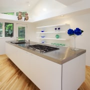 Long, minimalist galley kitchen by Boffi Georgetown and countertop, interior design, kitchen, product design, gray