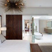 Just like a tropical resort, this new suite bedroom, ceiling, home, interior design, room, suite, gray