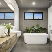 The family bathroom in a contemporary addition designed bathroom, interior design, real estate, room, gray, white