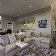 Ceilings over the family area of this show ceiling, estate, home, interior design, living room, property, real estate, room, gray