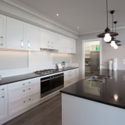 Landmark Homes Durham four-bedroom family home with bifolds, cabinetry, countertop, cuisine classique, interior design, kitchen, room, gray