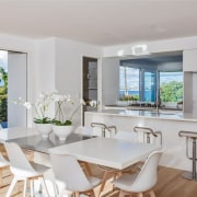 A white interior complements the blue of the dining room, interior design, property, real estate, gray