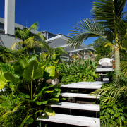 Designed by Mark Read, Natural Habitats, this garden architecture, arecales, condominium, estate, house, leaf, palm tree, plant, real estate, resort, sky, tree, tropics, vegetation, walkway, blue