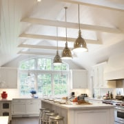 This Hamptons vacation house was extended to create ceiling, countertop, cuisine classique, daylighting, home, interior design, kitchen, room, gray