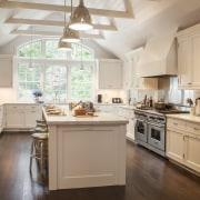 White painted cabinets with inset panel doors and cabinetry, countertop, cuisine classique, home, interior design, kitchen, room, brown, gray