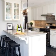 Cabinetry detailing matches the era of the house. cabinetry, countertop, cuisine classique, floor, flooring, home, interior design, kitchen, room, white